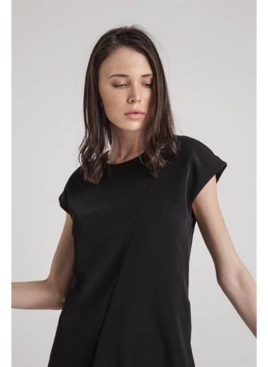 Rue Kısa Kollu Midi Elbise Siyah